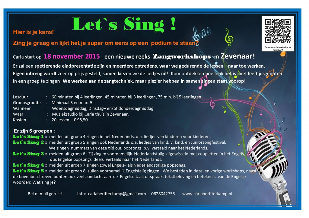 Flyer Let `s Sing   zangworkshop nov.  2015  tot en met  april 2016  verzonden